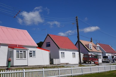 Row of Pioneer Cottages in Stanley- Falkland Islands