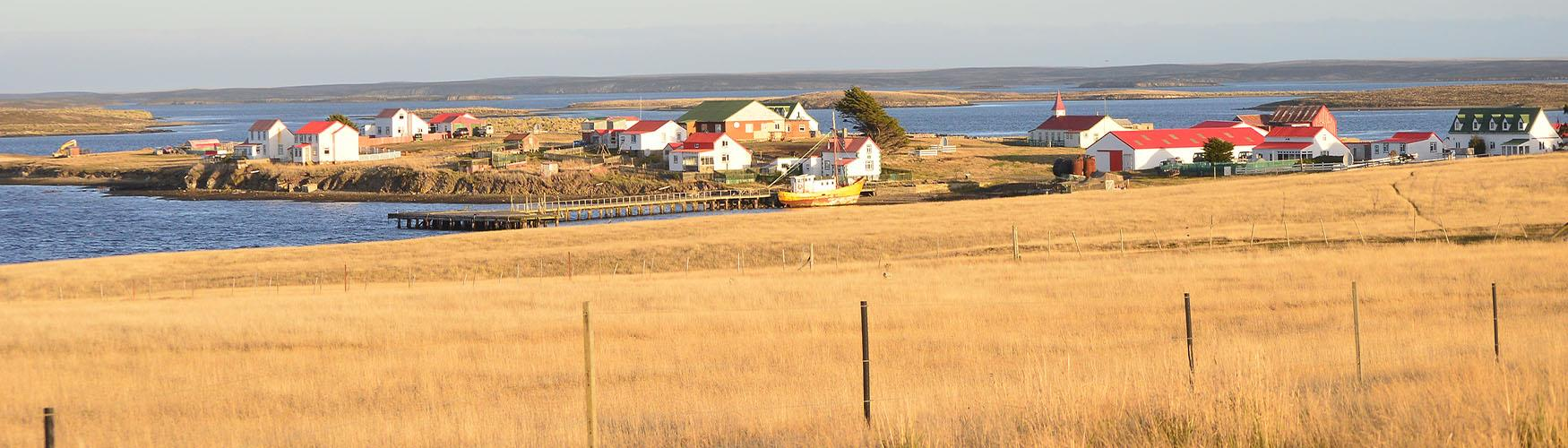Goose Green located on the East Falkland and one of the largest settlements on East Falklands, Falkland Islands